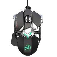 HXSJ Neue J600 Essen Huhn Mechanische Gaming Maus 6400DPI 9-Schlüssel Programmierbare Verdrahtete Maus Atmen Backlit für PC laptop
