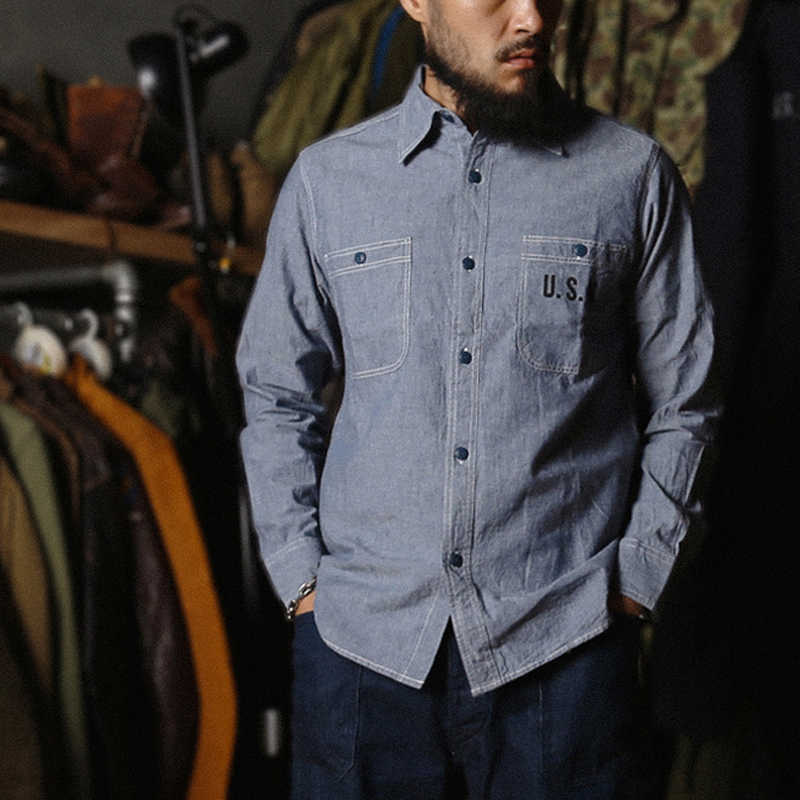 Bronson WW2 USN Chambray chemises de travail hommes Vintage Selvage marine Fatigue utilitaire