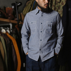 Image 1 - ברונסון WW2 USN Chambray עבודת חולצות גברים של בציר Selvage כהה עייפות שירות