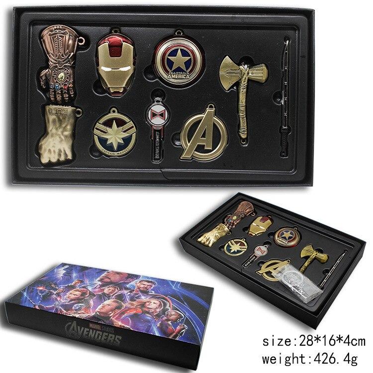 Винтажные игрушки Marvel, Мстители, бесконечность, война, перчатка Таноса, бесконечность, рукавица, брелки, маска Железного человека, Халка, косплей, брелок, детский подарок - Цвет: new gold