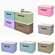 Linen Clothes Storage Box Folding Home Sundries Organizer New Foldable Storage Box Lids Stackable Polyester Fabric Container