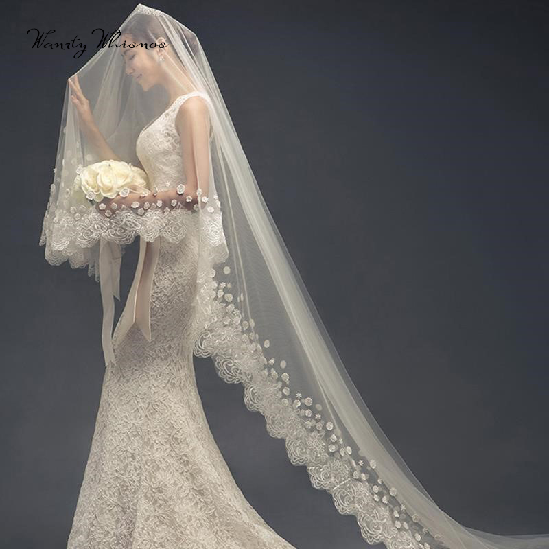 Cheap Bridal Veil for Romantic Wedding Party One Tier Cathedral Length 3M White Ivory Wedding Veil with Comb