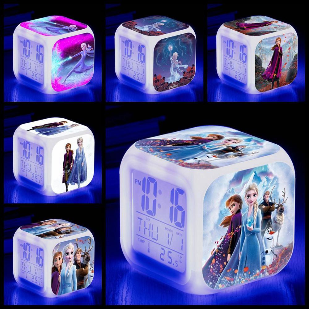 Disney 2019 NEW Movie Frozen 2 Princess Elsa Anna Digital Alarm Clock Color Changing LED Reloj Despertado Clock Kids Cartoon Toy