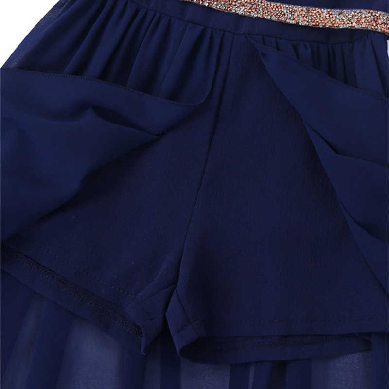 Długość podłogi szyfonowe sukienki dla dziewczynek księżniczka bez rękawów V Neck Maxi Romper sukienka z paskiem Rhinestone do tańca szkolnego