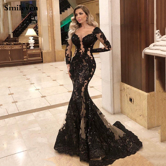 Smileven Mermaid Formal Evening Dress Long Sleeve Sexy Black Long Prom Party Gowns Custom Made 1