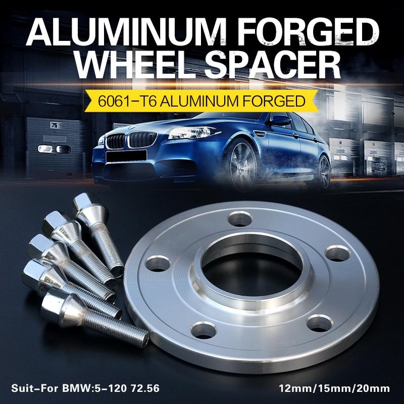 2/4PCS 12/15/20mm 5x120 Wheel Spacer Adapters Center Bore 72.56 For BMW E63 E64 E38 E65 E66 6/7series E34 E39 E60 E61 5series