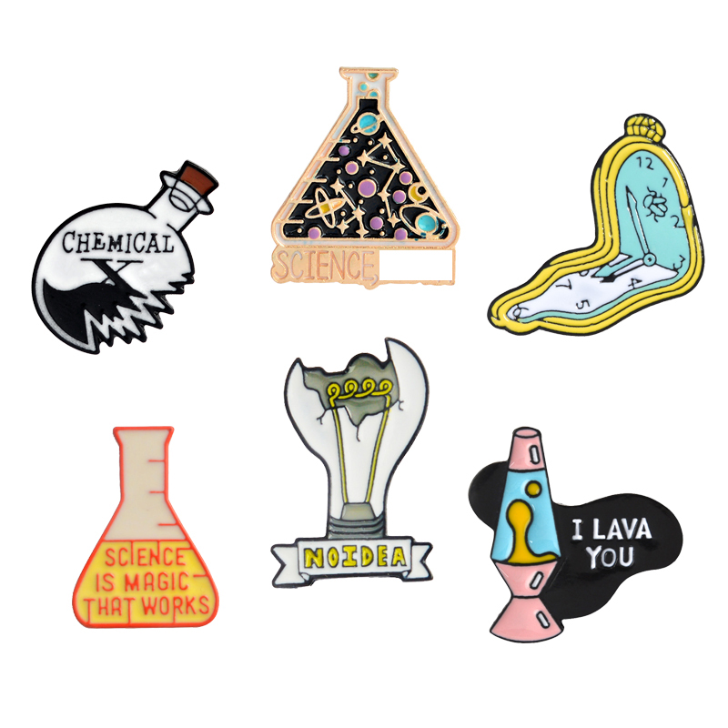 Science Lover Enamel Pins Chemical Beaker Light bulb Alarm clock Lava lamp Brooches Scientist Lapel Pin Badge Gift for Student(China)