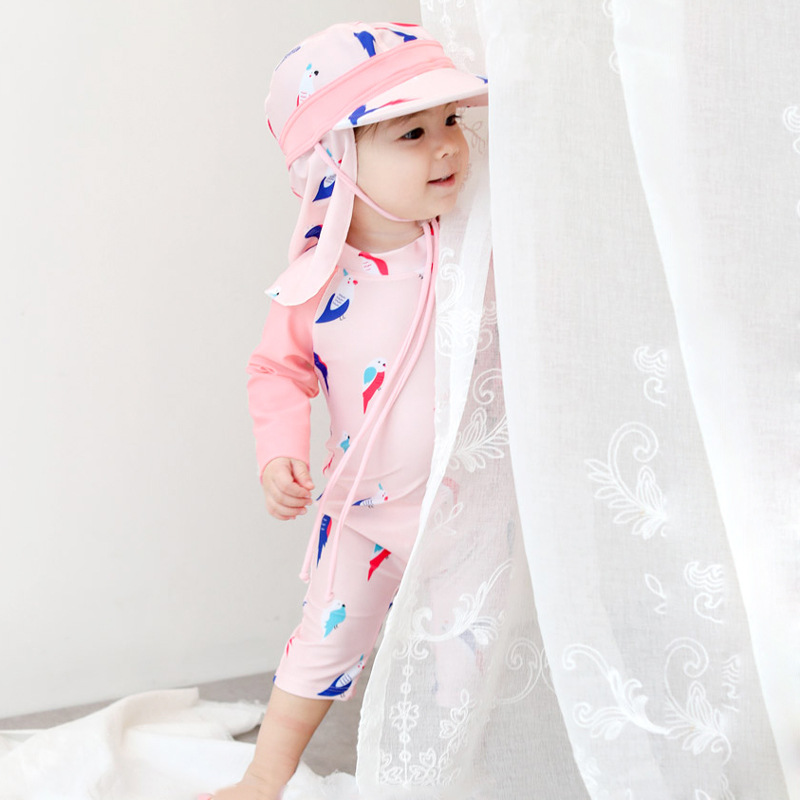 Baby Girls Children Sun-resistant Bathing Suit Long Sleeve Swimwear Urethane Elastic Fibre 0-1-2-3-4-8-Year-Old CHILDREN'S BABY'