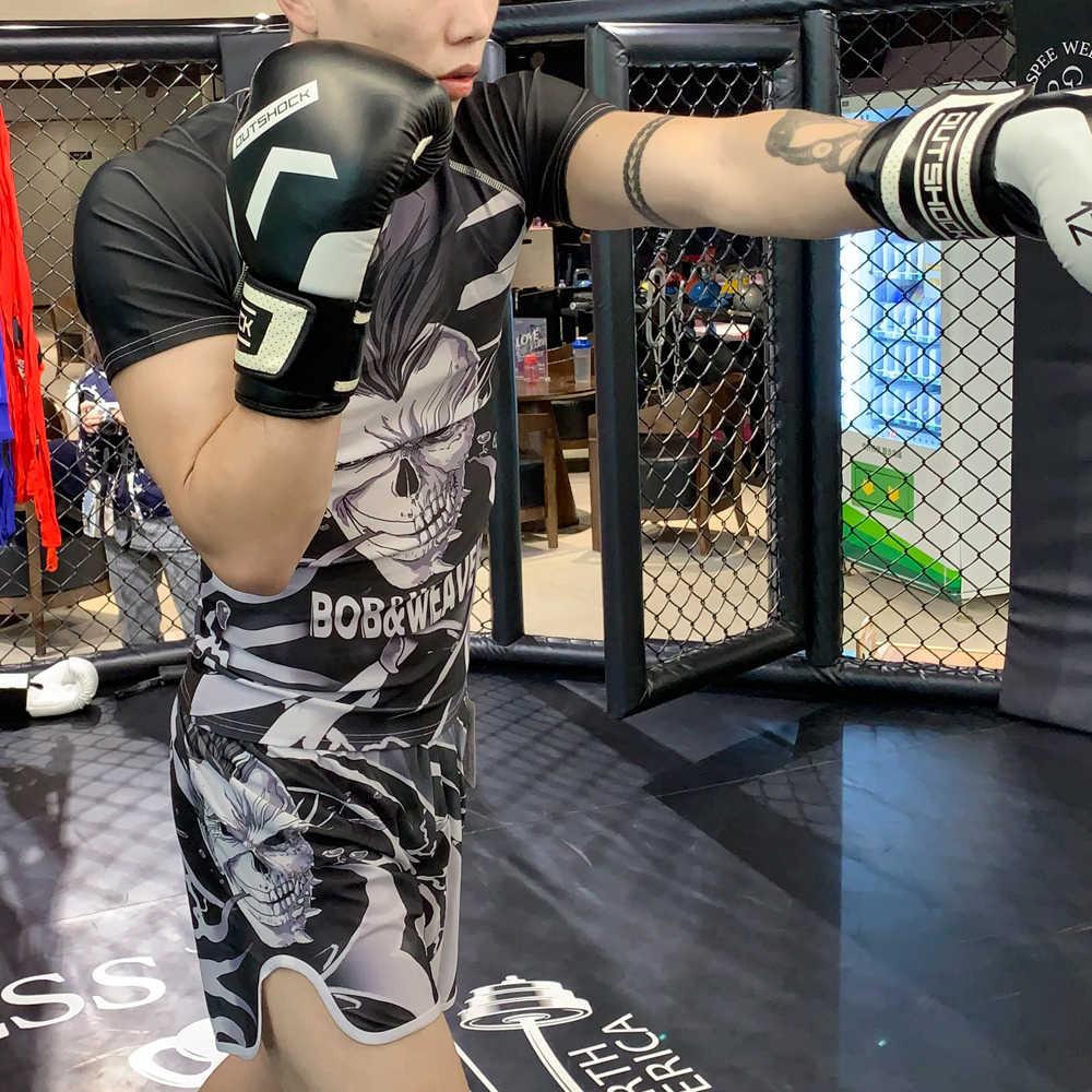 Conjunto de boxe compressão jérsei & shorts 3d crânio impressão rashguard kickboxing apertado curto t-shirts muay thai mma luta
