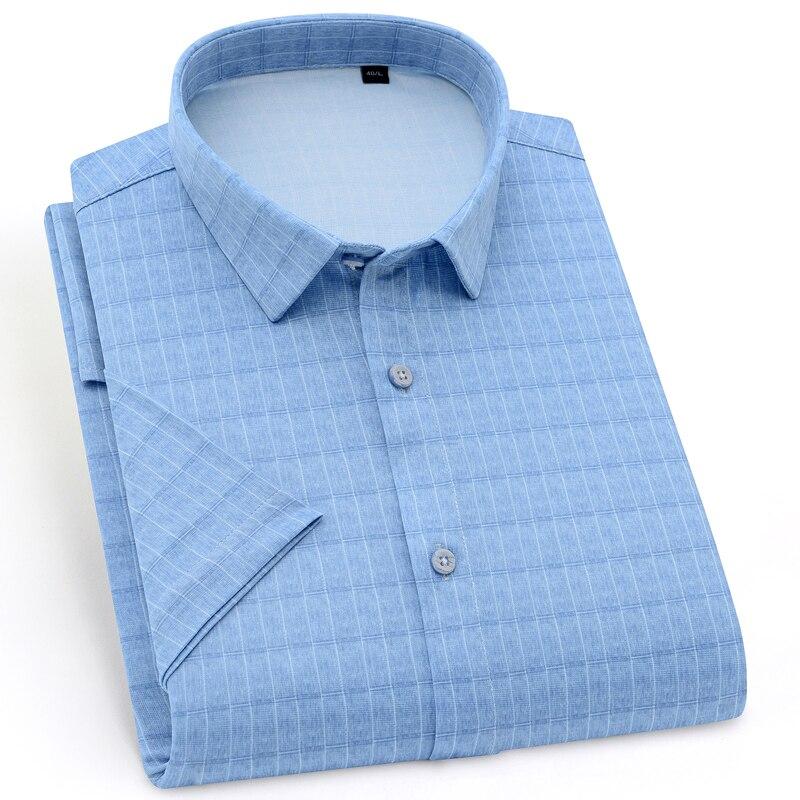 Holiday Casual Short Sleeve Checkered Printed Shirts Pocket-less Design Standard-fit Comfortable Soft Thin Men's Plaid Shirt 1