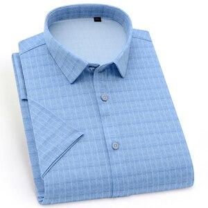 Image 1 - Holiday Casual Short Sleeve Checkered Printed Shirts Pocket less Design Standard fit Comfortable Soft Thin Mens Plaid Shirt