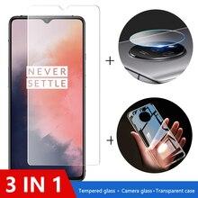 Funda 3 en 1 + Cristal de cámara para oneplus 7t 7 8 pro Protector de pantalla Cristal de lente en one plus 8t nord 6t 6 cristal Protector