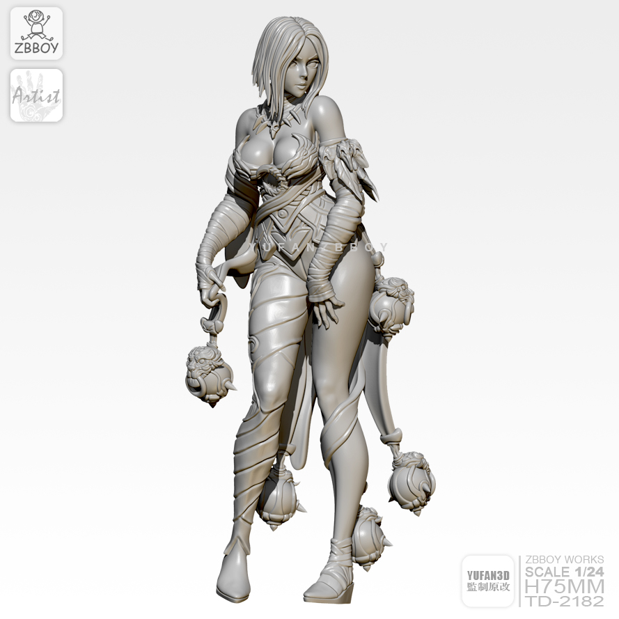 75MM Resin Figure Kits Sexy Goddess Self-assembled TD-2182