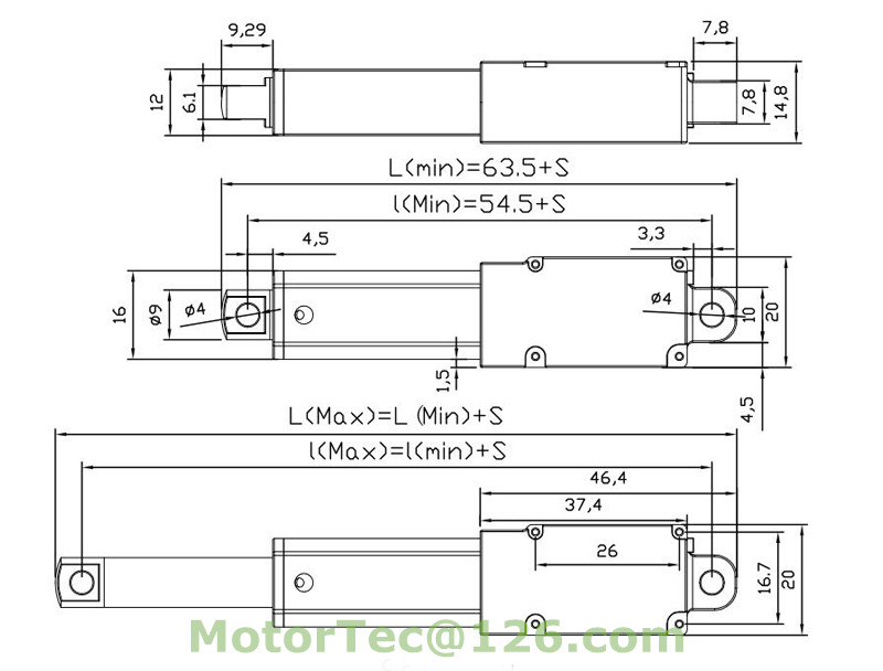 LV-11 linear actuator drawing
