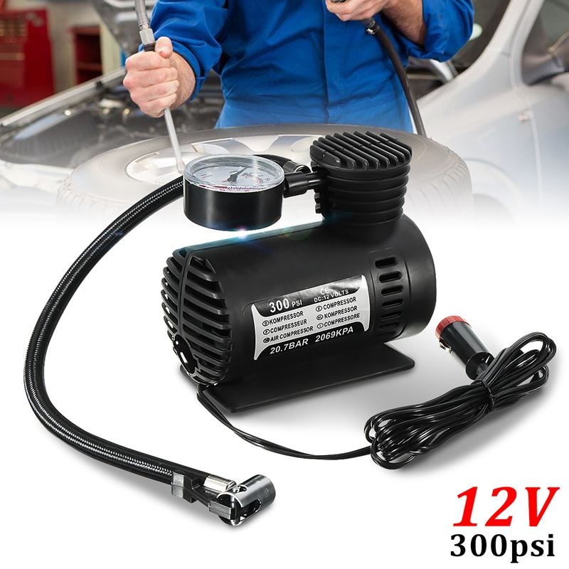 300 Psi 12V Portable Car Tire Inflator Mini Air Compressor Football Basketball Electric Pump Balloon Swimming Ring Air Pump