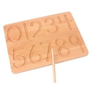 Image 2 - Placa de brinquedo montessori, brinquedo para matemática de reconhecimento digital, 0 9, prática para crianças, prática de treinamento pré escolar, madeira