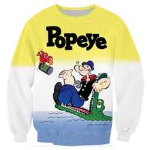 3D Print Crewneck Streetwear Cartoon Anime Popeye Men Jacket Swearshirts Pullover Hoodies Hoody Clothes Harajuku Tops Sudaderas