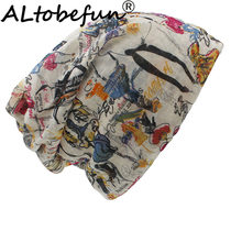 ALTOBEFUN Thin Painting Design Skullies And Beanies Women Scarf Face Mask Brand Autumn And Winter Dual-use Hats For Lady BHT013