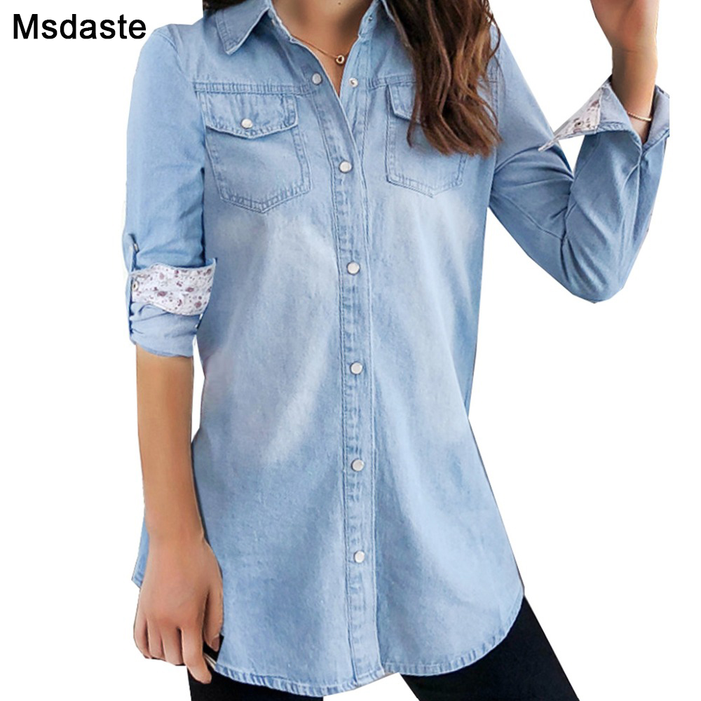 Jeans Shirts 2019 Spring Women Tops And Blouses Blusas Feminina S~3XL Long Sleeve Top Mujer Vintage Blue Ladies Denim Shirt