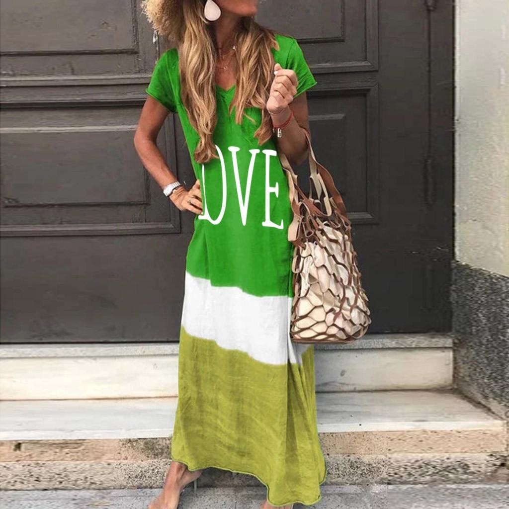 2020 Maxi Long Dress Summer Dress Women Letter Print Patchwork Sundress Casual Loose Plus Size Sexy V Neck Vestidos 3