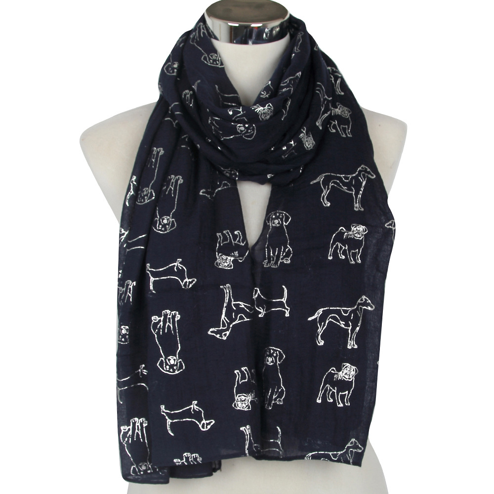 2019 Fashion Cute Glitter Dog   Scarf   Women Animal Print Shiny Foil Sliver Scarfs For Ladies Female Black White Thin   Wrap     Scarves