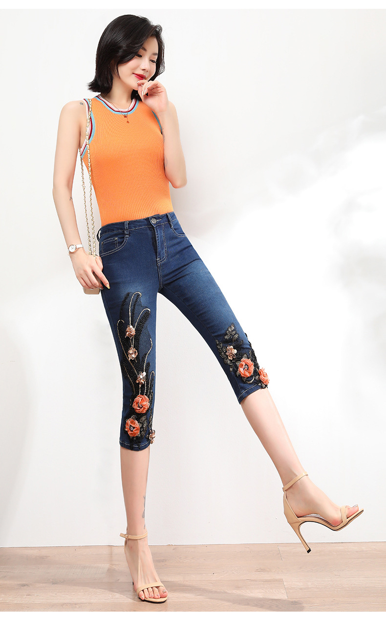 KSTUN FERZIGE Women Jeans Shorts High Waist Stretch Dark Blue Beaded Flowers Mom Jeans Push Up Sexy Short Pants Summer Mujer Jeans 36 13