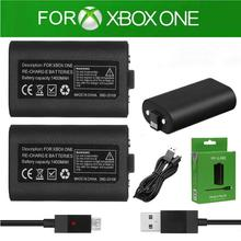 2pcs 1400mAh Lithium polymer Rechargeable Battery Pack+USB Charger Cable Kit for Microsoft XBOX One Wireless Controller