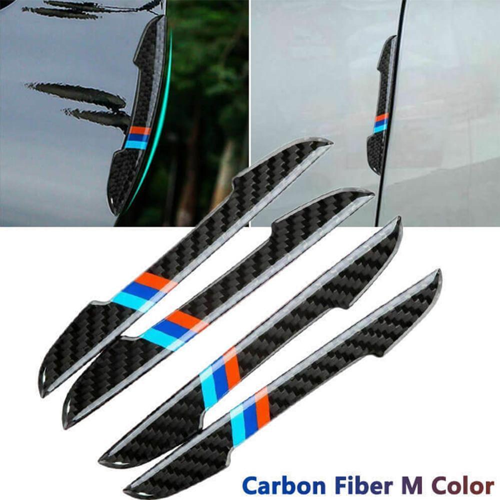 4 шт. двери автомобиля протектор наклейки полосы бампер из углеродного волокна автомобильные аксессуары Дверная ручка с защитой от царапин ...
