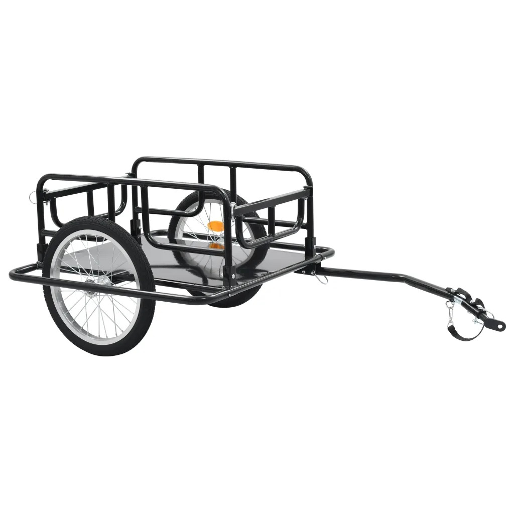 VidaXL Two-Wheeled Bike Cargo Trailer 130x73x48.5 Cm Steel Black 91770 Steel Maximum Load Capacity 50 Kg Foldable Drawbar