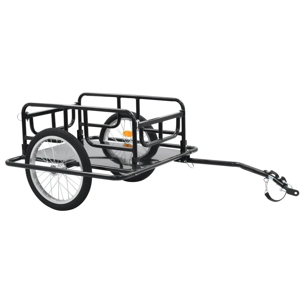VidaXL Two-Wheeled Bike Cargo Trailer 130x73x48.5 Cm Steel Black 91770 Steel Maximum Load Capacity 50 Kg Foldable Drawbar
