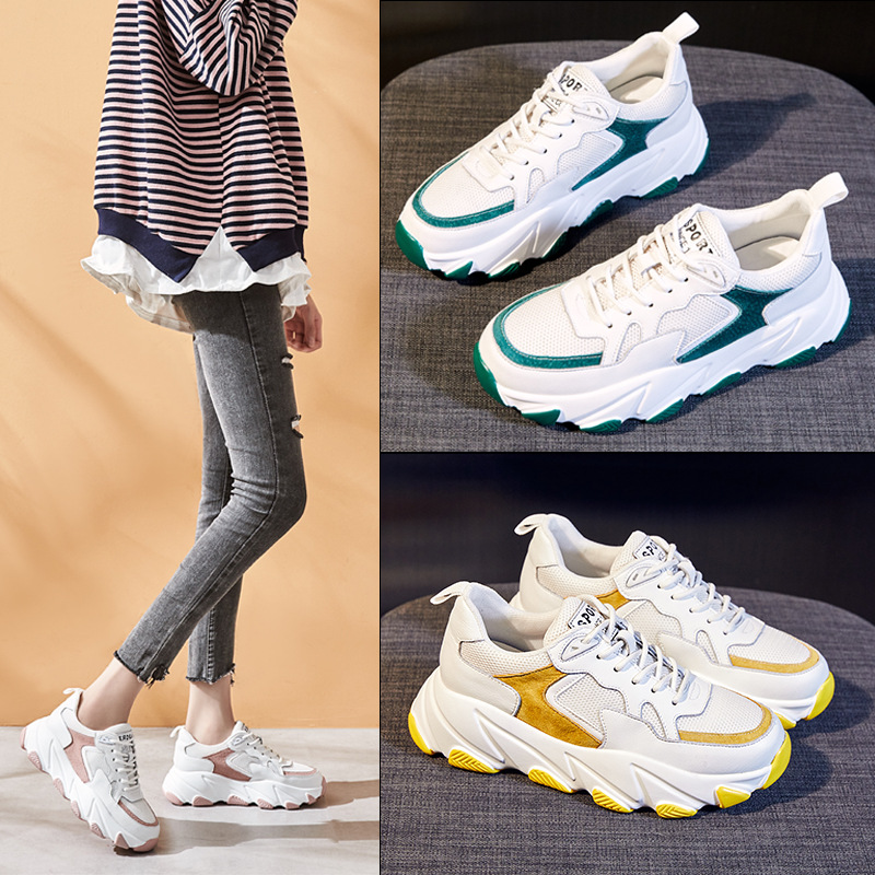 2020 Spring Korean Wild Color Matching Thick-soled Leather Sneakers Women Casual Running Shoes Zapatillas Mujer Deportiva ZZ-322