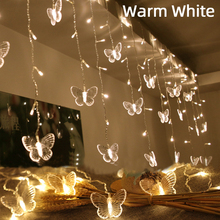 220V LED Christmas Butterfly Garland Light String Fairy Curtain Lights Outdoor For Holiday Party Wedding New Year's  Decoration недорого