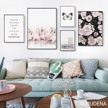 Скандинавский Фламинго бабочка личность фраза холст живопись плакаты и принты художественные настенные картины гостиная украшение дома