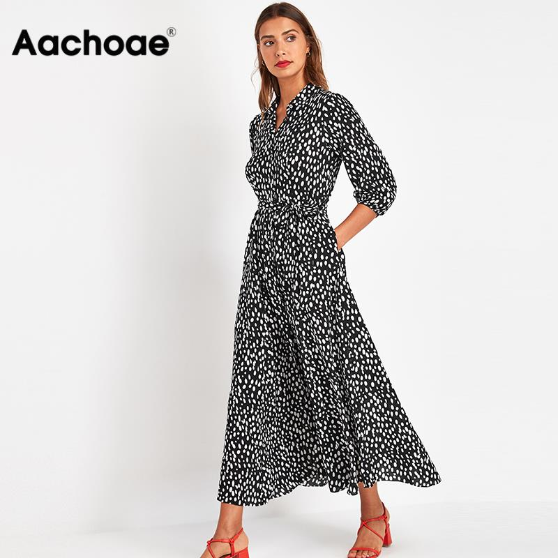 Women Elegant Turn Down Collar Office Shirt Dress 2020 Dot Print Casual Long Dresses Female Three Quarter Sleeve Sashes Dress