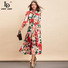 LD LINDA DELLA New 2021 Fashion Designer Summer Vacation Dress abito longuette Vintage con stampa floreale a fiocco manica lunga da donna