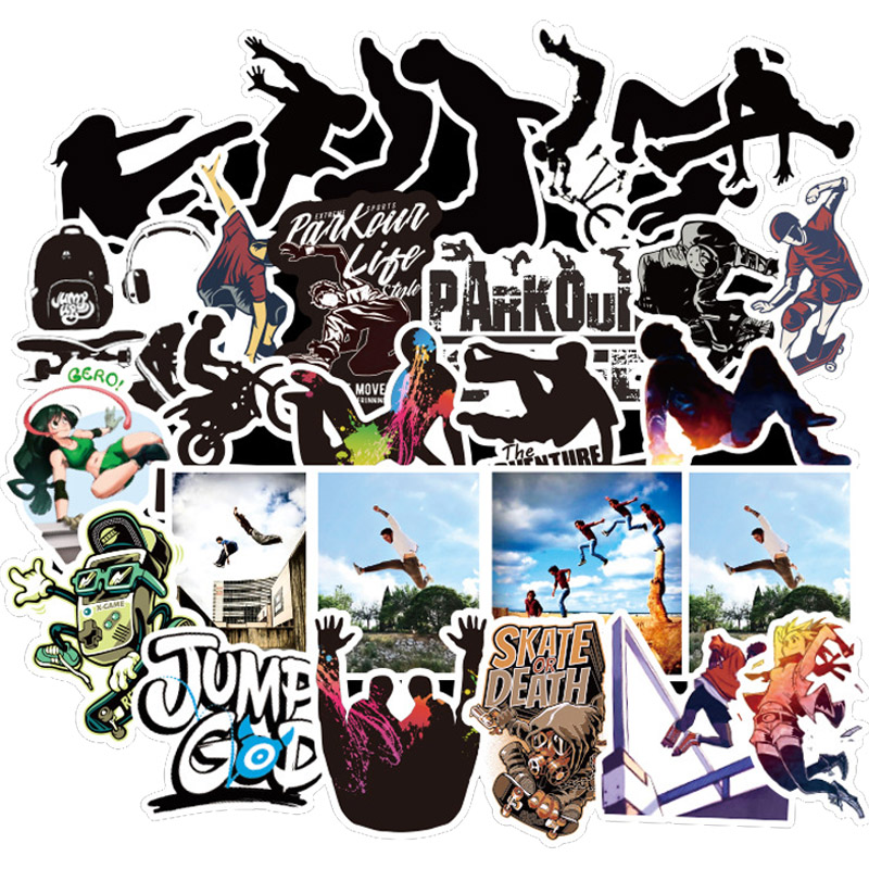 50 PCS Pack Cool Extreme Sports Parkour Sticker For On Skateboard Hydro Fask Laptop Suitcase Waterproof Stickers