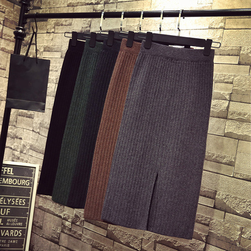 Core-Spun Yarn-Slit One-step Skirt Long Skirts Autumn And Winter Wool Skirt High-waisted Mid-length Knitted Skirt