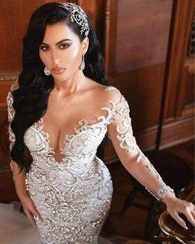 Vestidos de novia de sirena de Dubai árabe de lujo cristal mangas trajes de novia corte tren tul falda batas de mariee