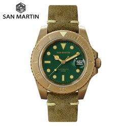 San Martin luksusowy brązowy piaskowany zegarek do nurkowania męski zegarek mechaniczny świecący kalendarz 200 metrów wodoodporny w Zegarki mechaniczne od Zegarki na