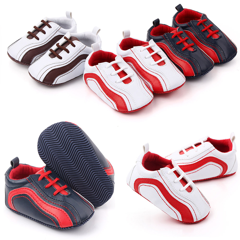 2019 Baby Shoes Newborn Baby Girl Boys Causal Bow Anti-slip Shoes Plaid Patchwork Soft Sole Sneakers Prewalker 0-18M