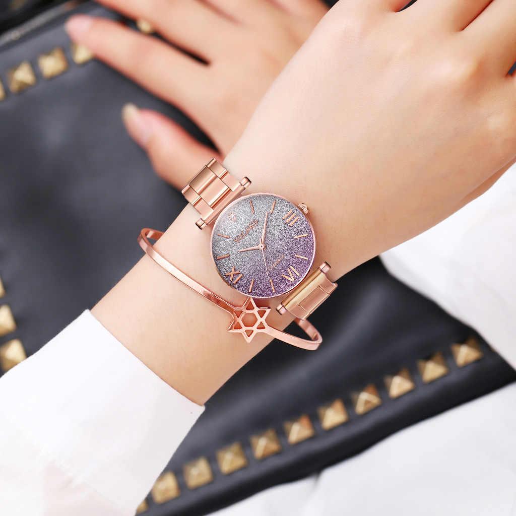 Простые/роскошные стильные часы из нержавеющей стали женские 39 s платья часы звезда постепенная цвет Дамская мода кварцевые наручные часы для отдыха