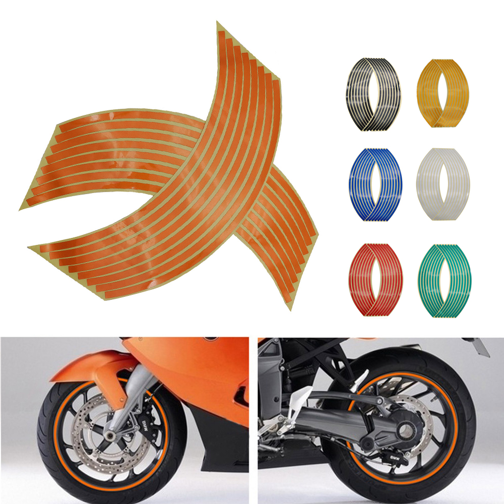 Motorcycle Wheel Sticker 3D Reflective Rim Tape Auto Decals Strips For <font><b>Kawasaki</b></font> VERSYS 1000 ZX 10 12 6 R <font><b>Z</b></font> 650 <font><b>900</b></font> 800 250 300 image