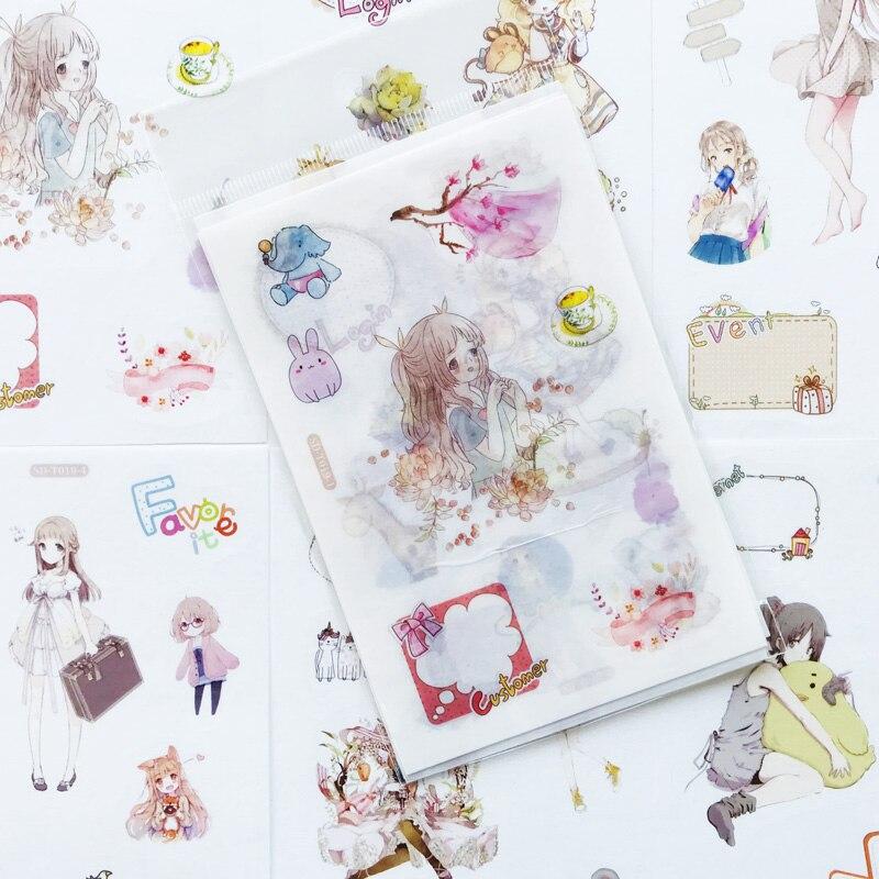 6 Sheets/Pack Kawaii Cartoon Girl Sticker Adhesive Craft Stick Label Notebook Computer Phone DIY Decor Kids Gift Stationery