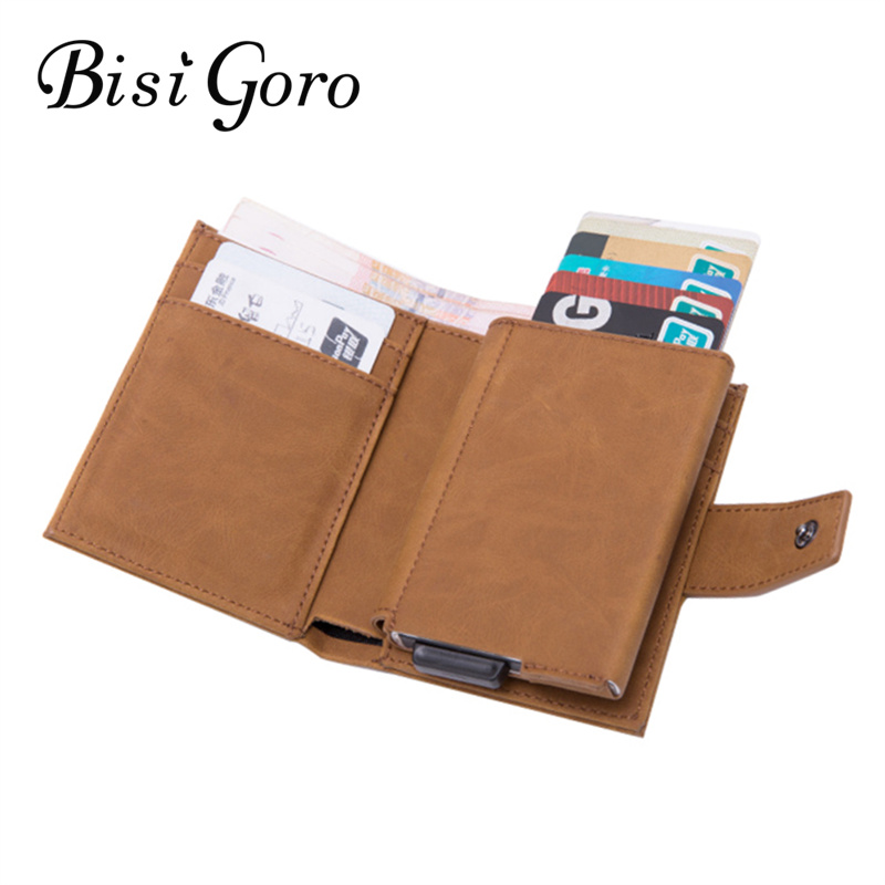 BISI GORO 2019 New Style RFID Card Holder And Minimalist Wallet Metal Men Women Single Box Aluminium Blocking Holder For Cards