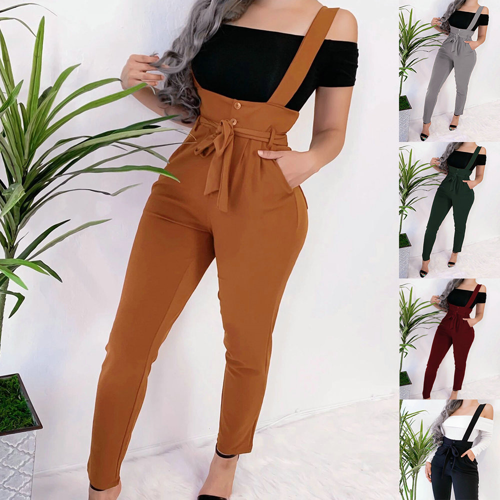 2019 Fashion Women Overalls Casual Solid Color Black Drawstring High Waist Women Pants Winter Pants Women