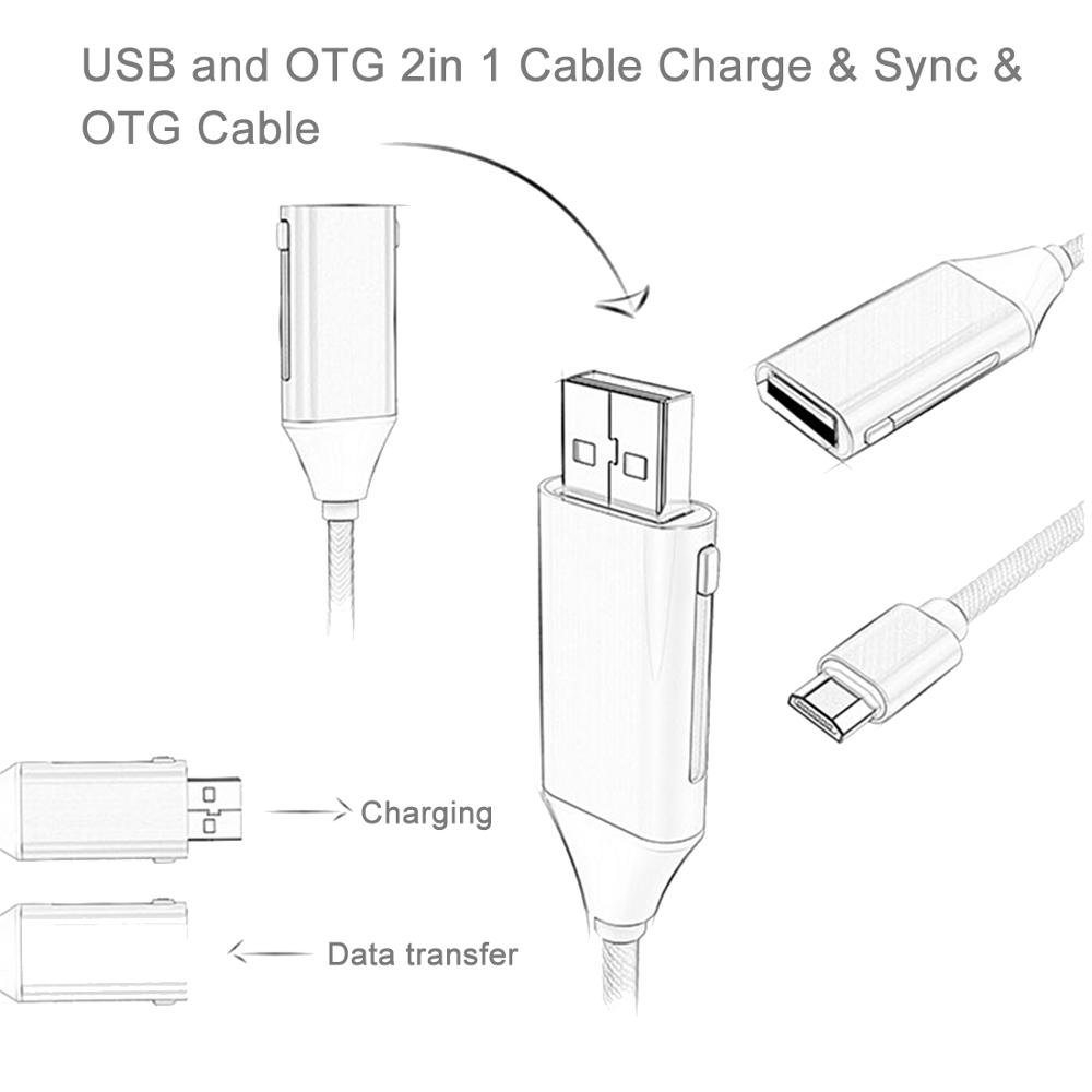 1M Multi-functional Micro 8pin & Micro USB To OTG & USB 2.0 Data Sync Cable USB Charging CableUSB And OTG 2 In 1 Cable