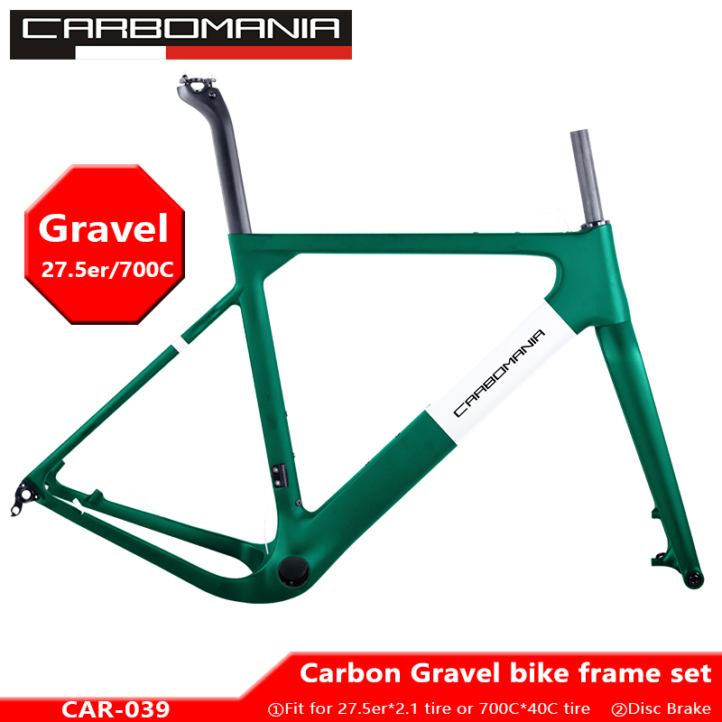 2019 quadro de estrada carbono 27.5er/700c cascalho bicicleta quadro mtb freio a disco carbono cyclocross conjunto quadro da bicicleta 650b através do eixo 12*142mm