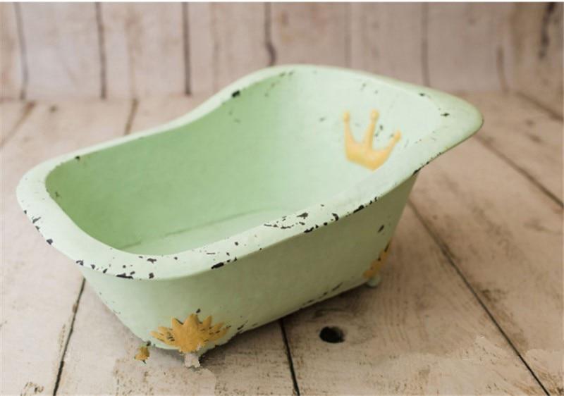 Baby Photography Props Cute Mini Bathtub Retro Posing Green Tub Fotografia Accessories Studio Shooting Photo Props