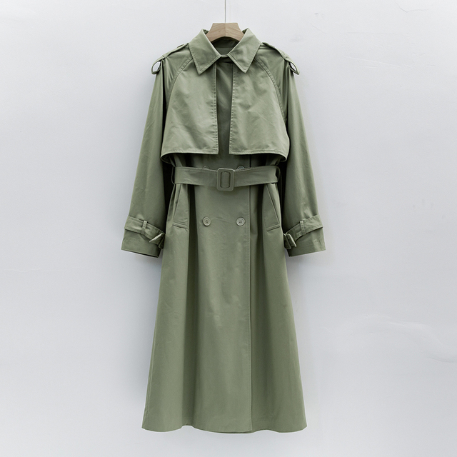 UK Brand new Fashion 2021 Fall /Autumn Casual Double breasted Simple Classic Long Trench coat with belt Chic Female windbreaker 5