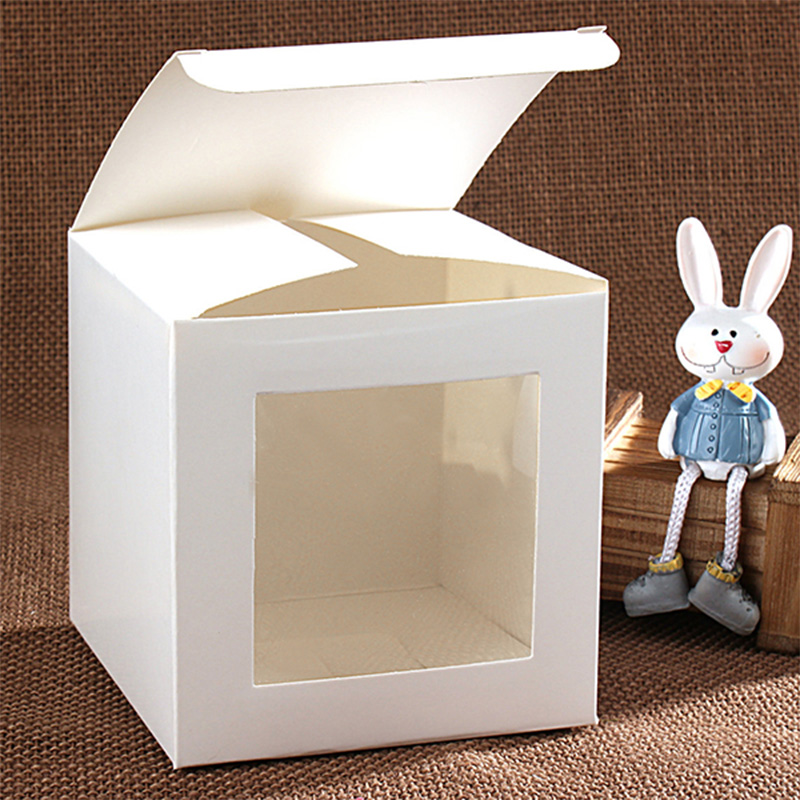 20pcs 15 Sizes White Craft Paper Window Box,white Package Paper Gift /candy /wedding Favor Box With Clear Pvc Window